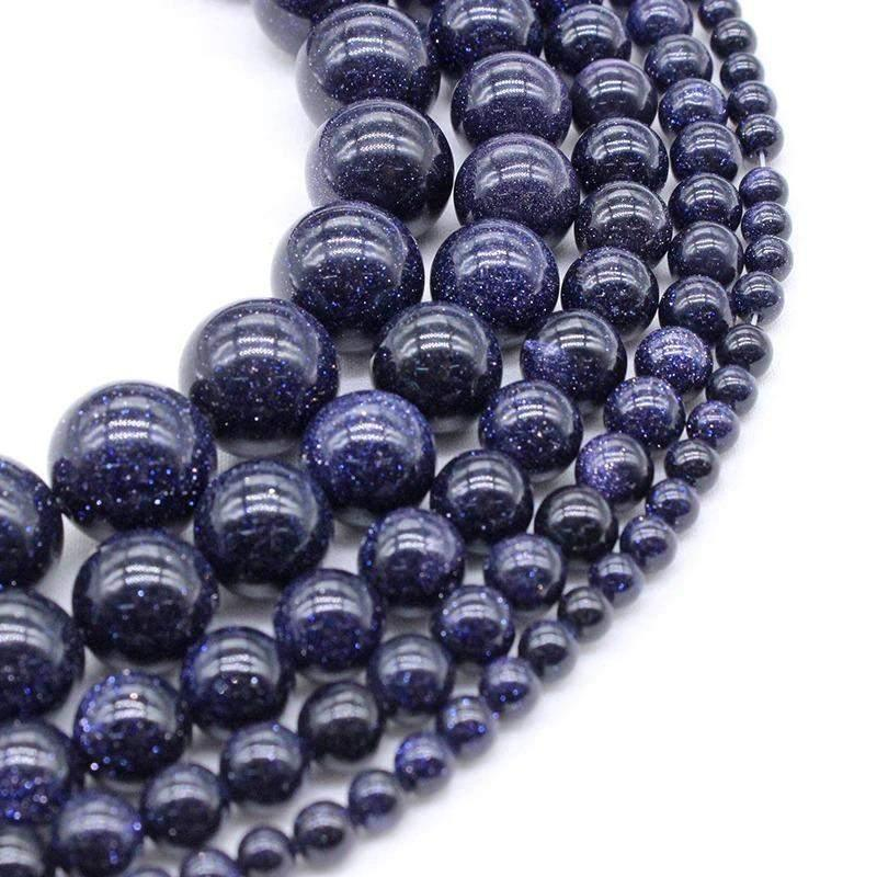 Natural Blue Sandstone Beads, 4-10mm Round Stone, 15.5'' inch. strand