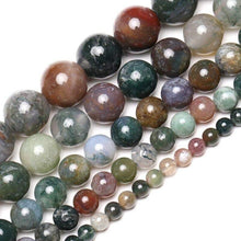 Load image into Gallery viewer, Natural 8mm Indian Agate Beads, Green Spaser Beads, size 4-16mm, 15'5 Full Strand