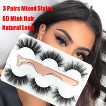 Load image into Gallery viewer, 3 Pairs Mink False Eyelashes With Tweezer - Veronique Collection