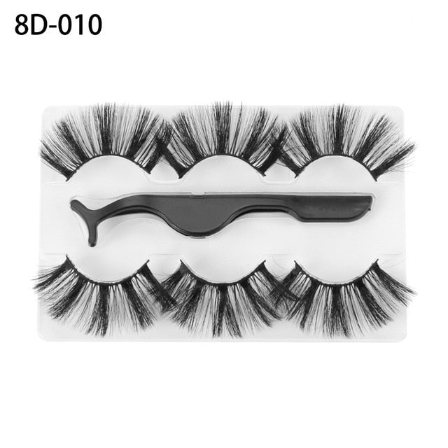 3 Pairs Mink False Eyelashes With Tweezer - Veronique Collection