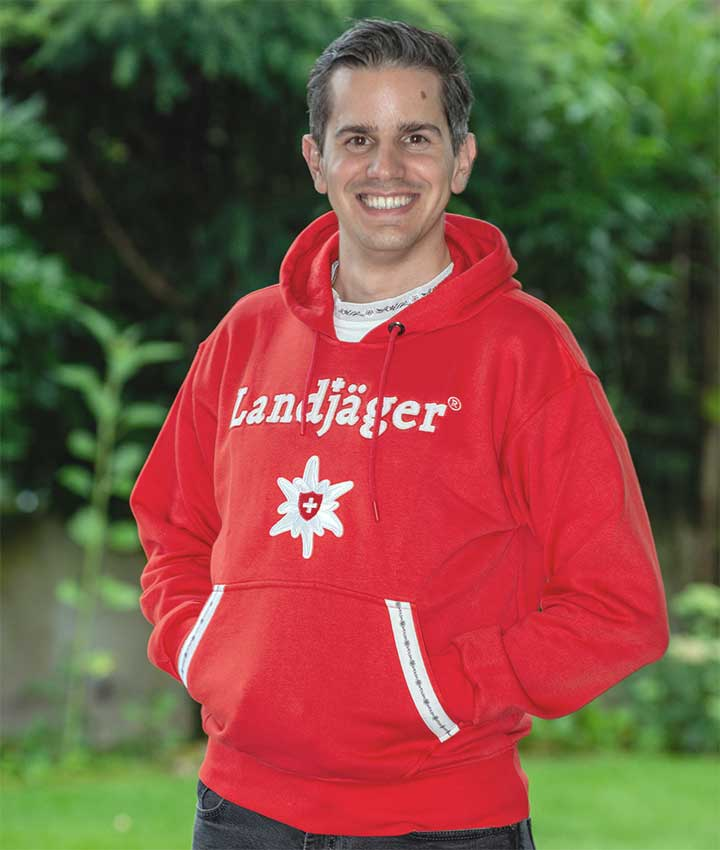Rotes Edelweiss Hoodie