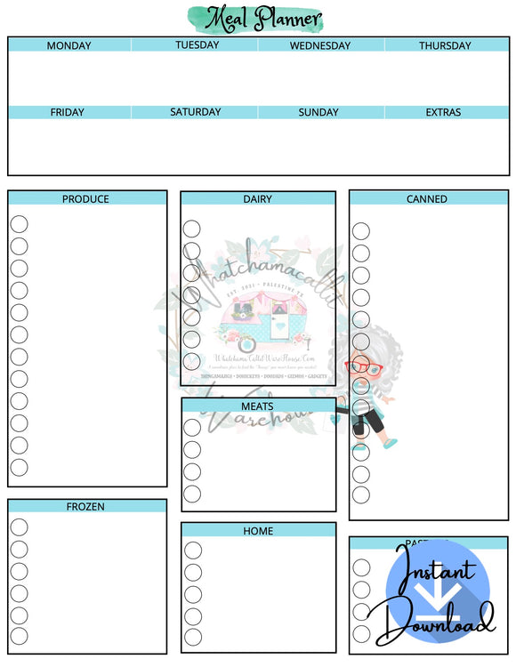 Meal Planner With Check Boxes (Digital Downloads)