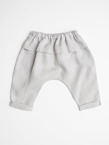 Harem Linen Pant - Light Grey