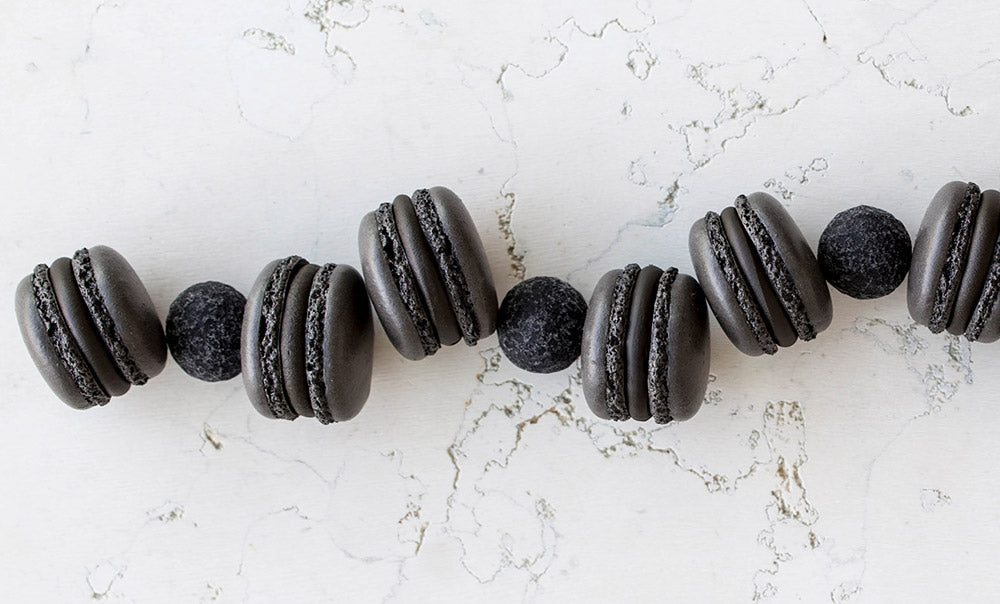 Black Coated French Macarons