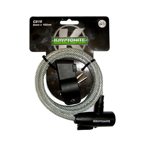 KRYPTONITE KEEPER 815 COILED KEY CABLE 8mm x 150cm W/BKT (3C)