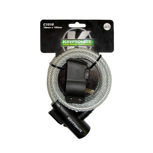 KRYPTONITE KEEPER 1018 COILED KEY CABLE 10mm x 180cm W/BKT (3C)