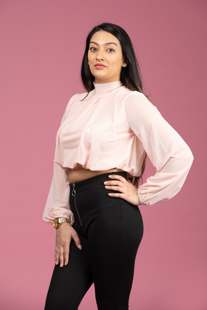 Classy High Neck Long Sleeve Top: Wit/ Roze-Top-Roosoo