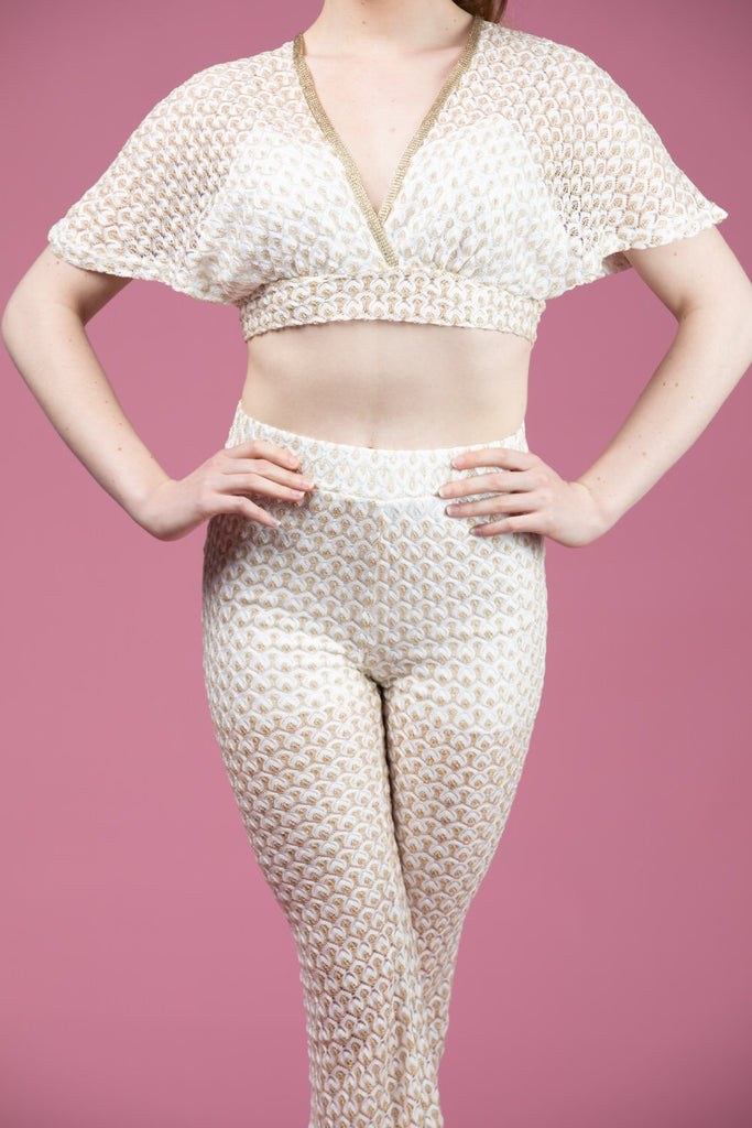 Summer Two Piece Set Gold And White-Two Piece-Roosoo