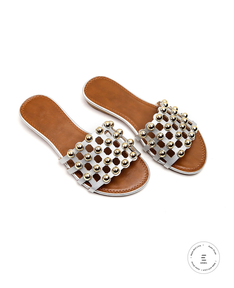 SILVER BEAD STUDDED FLATS