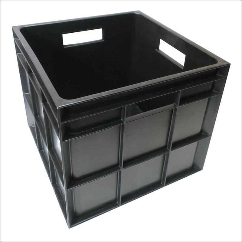 Vinyl Storage Crate - Heavy Duty Plastic - BLACK
