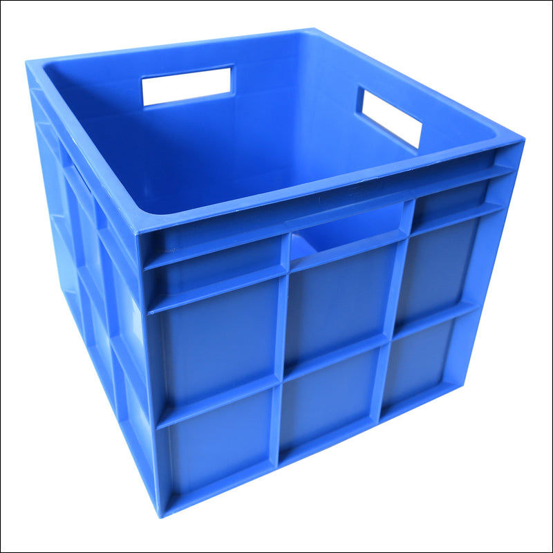 Vinyl Storage Crate - Heavy Duty Plastic - BLUE