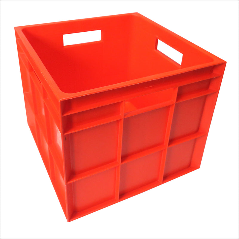 Vinyl Storage Crate - Heavy Duty Plastic - RED