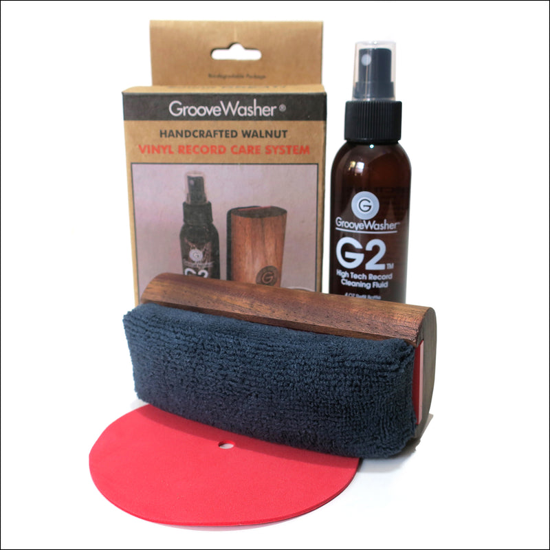 Vinyl Cleaning: GrooveWasher Walnut Brush + Anti-static Spray