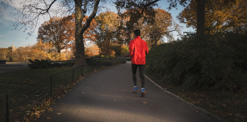 A man running in the park to boost his brain performance