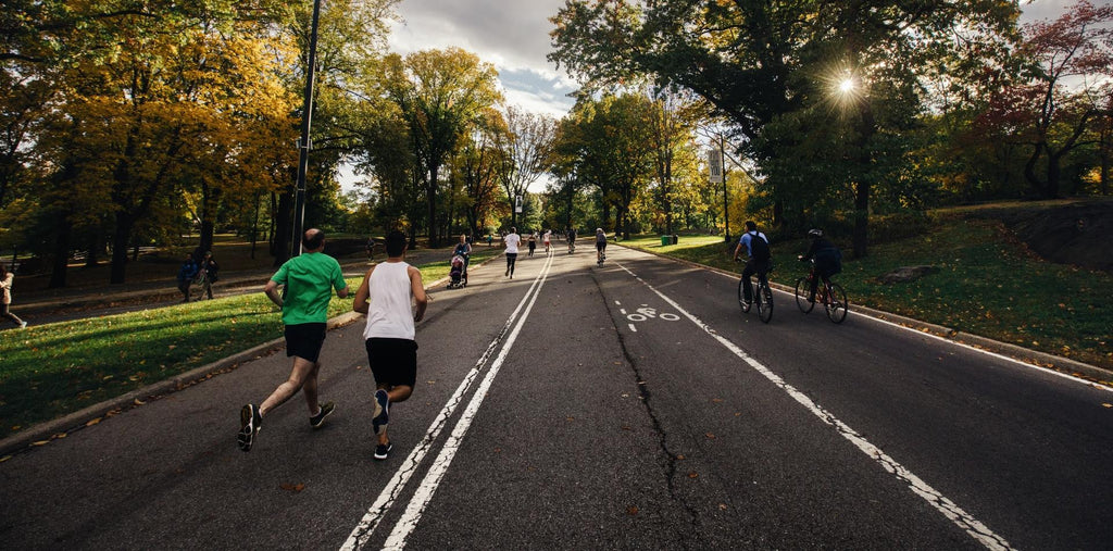 People running in the park to boost their brain performance