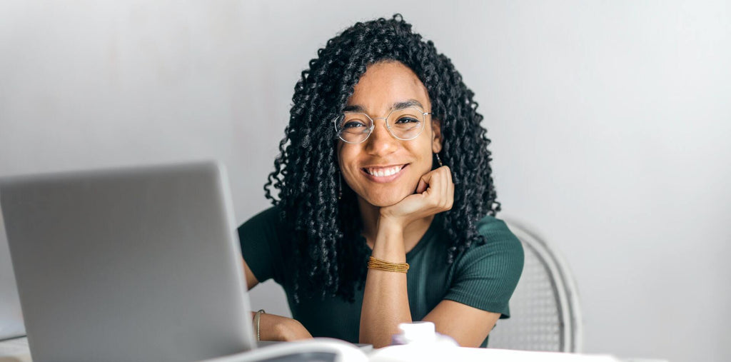 A happy women at her workplace