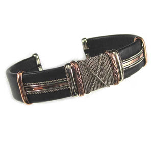Large Black Leather Bracelets