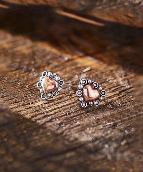 Sterling Silver and Copper Heart Post Earrings