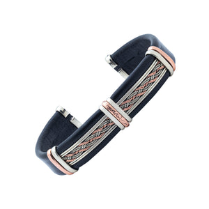 Men's Leather Bracelet BR.ULB.0210 - Handcrafted by HPSilver, LLC.