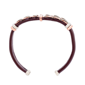 Leather Bracelet BR.ULB.0303 - Brown Leather Cuff Bracelet -Handcrafted by HPSilver, LLC.