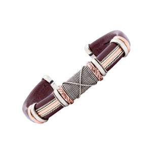 Leather Bracelet BR.ULB.0304 - Brown Leather Cuff Bracelet -Handcrafted by HPSilver, LLC.