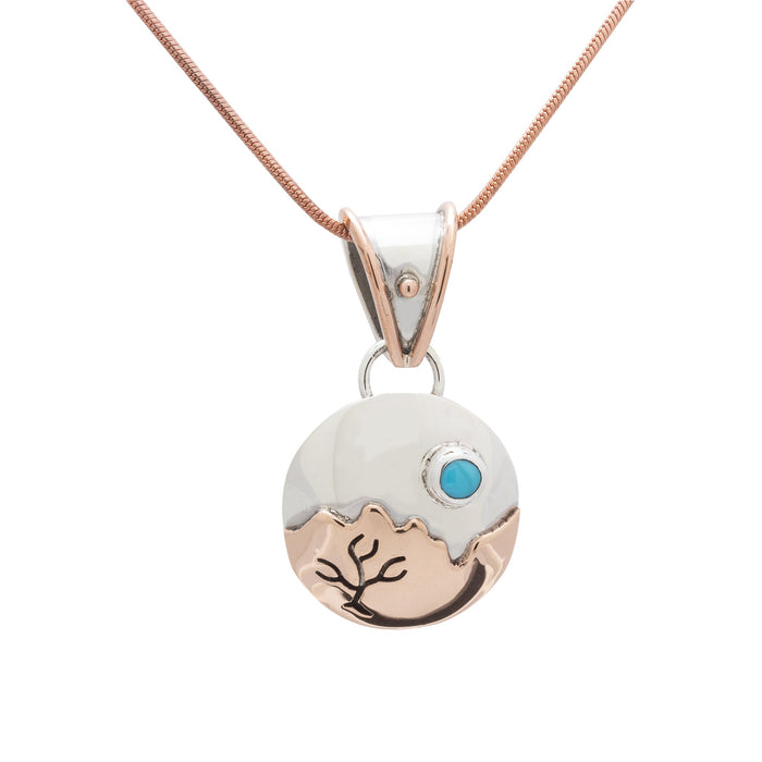 Turquoise Pendant, Handcrafted with Silver and Copper - PN.VIC.2108