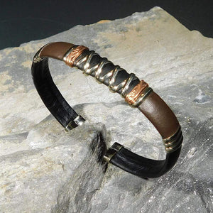 Bracelets Unique Leather Bracelet - HPSilver, Black & Brown with Copper, Adjustable Cuff - 1303