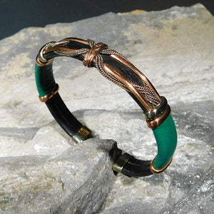 Bracelets Unique Leather Bracelet - HPSilver, Black & Green with Copper, Adjustable Cuff - 0706