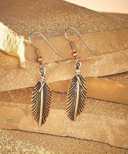 Feather Earrings, Handcrafted with Copper and Silver - ER.VIC.4051