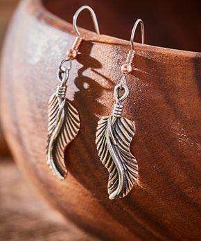 Earrings Copper Earrings - HPSilver, Copper and Sterling Silver Dangle Feather Earrings ER.VIC.4055