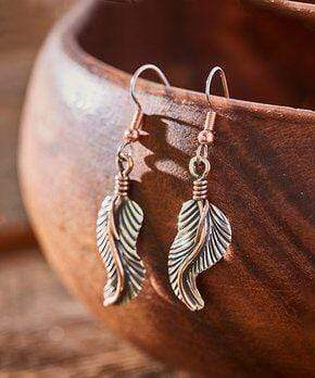 Feather Earrings, Handcrafted with Silver and Copper - ER.VIC.2010