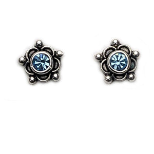 Earrings Sterling Silver Earrings - HPSilver, Sterling Silver with Blue CZ Stud Earrings ER.EMA.1506