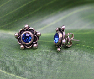 Earrings Sterling Silver Earrings - HPSilver, Sterling Silver with Blue CZ Stud Earrings ER.EMA.1515