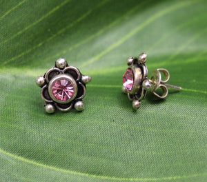 Earrings Sterling Silver Earrings - HPSilver, Sterling Silver with Pink CZ Stud Earrings ER.EMA.1514