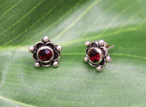 Earrings Sterling Silver Earrings - HPSilver, Sterling Silver with Red CZ Stud Earrings ER.EMA.1511
