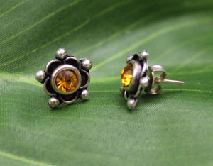 Earrings Sterling Silver Earrings - HPSilver, Sterling Silver with Yellow CZ Stud Earrings ER.EMA.1512