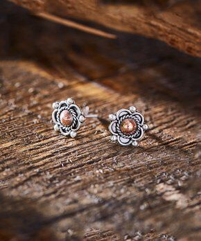Sterling Silver and Copper Stud Earrings