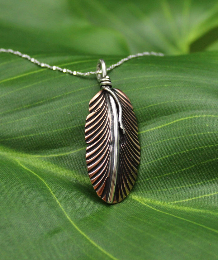Feather Pendant, Handcrafted with Copper and Silver - PN.VIC.4021