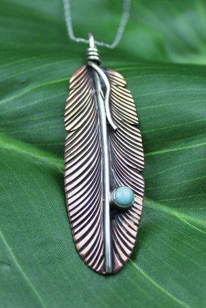 Pendants Copper Pendant - HPSilver, Copper and Sterling Silver with Turquoise Liberty Feather Pendant PN.VIC.4001