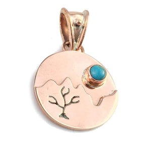 Pendants Copper Pendant- HPSilver, Copper with Turquoise Mountain Pendant  PN.ANG.4900