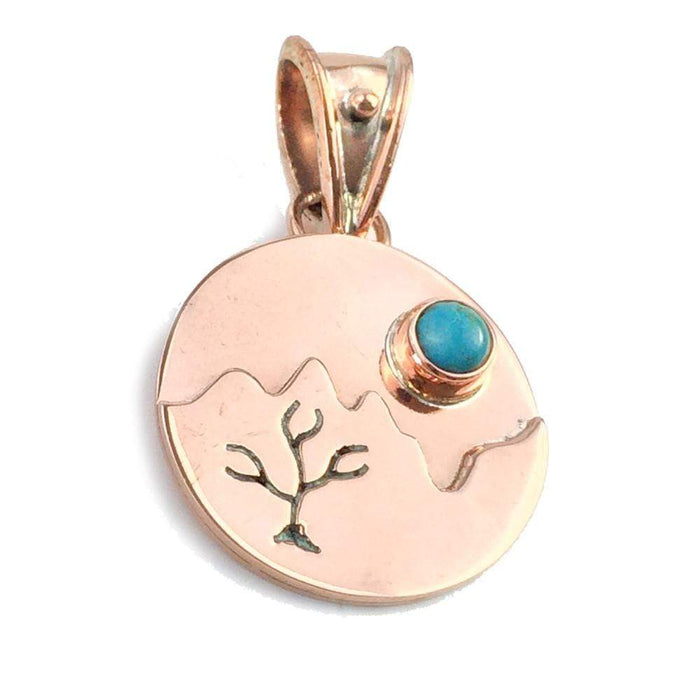 Turquoise Pendant, Handcrafted with Copper - PN.ANG.4900
