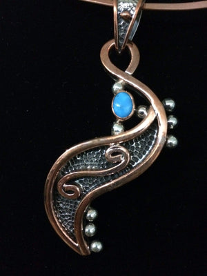 Pendants Sterling Silver Pendant- HPSilver, Sterling Silver and Copper with Turquoise Grand Scepter Pendant PN.VIC.2113