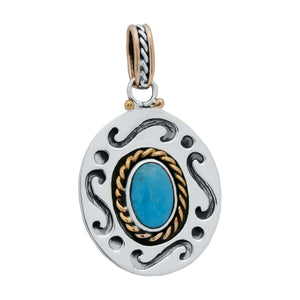 Pendants Sterling Silver Pendant- HPSilver, Sterling Silver and Copper with Turquoise Pendant PN.VIC.2122