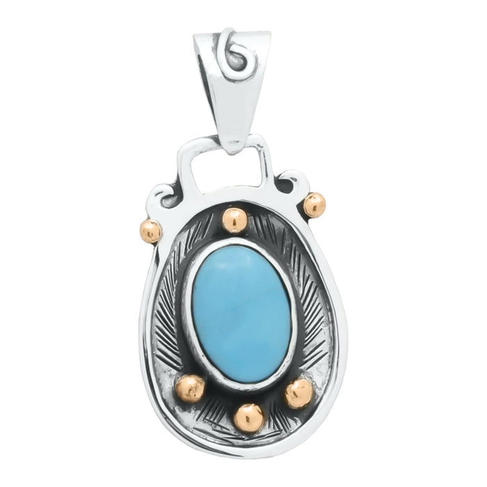 Turquoise Pendant, Handcrafted with Silver and Copper - PN.VIC.2123