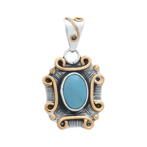 Pendants Sterling Silver Pendant- HPSilver, Sterling Silver and Copper with Turquoise Pendant PN.VIC.2126