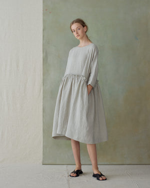 Light Blue Stripe Raw Hem Pleated Dress