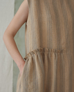 Sand Stripe Sleeveless Asymmetrical Dress