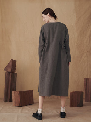 Dark Cacao Dress with Side Gathers