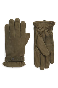 Olive Barbour Insulated Leather Gloves
