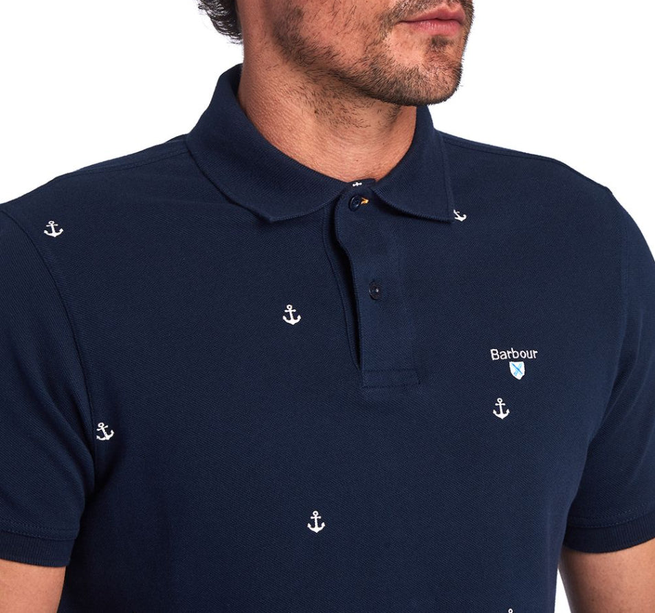 Navy Barbour Aric Print Polo Shirt